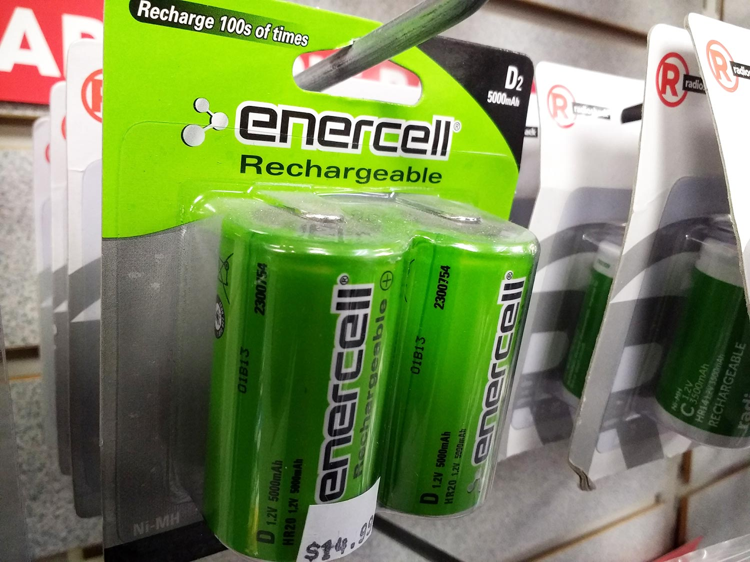 Our selection of rechargeable batteries includes larger sizes such as C and D cells.