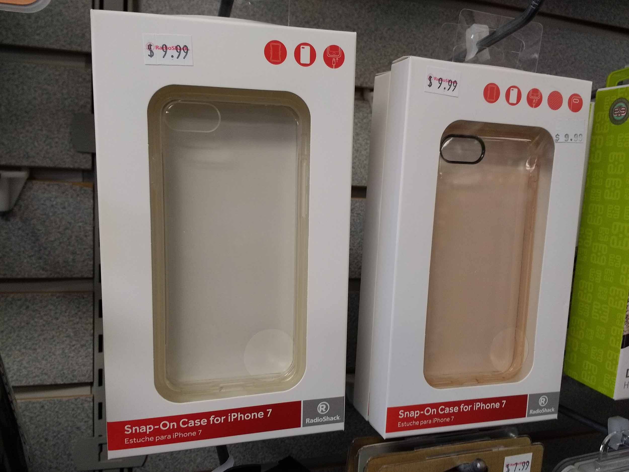 Smartphone accessories include clear snap-on cases.