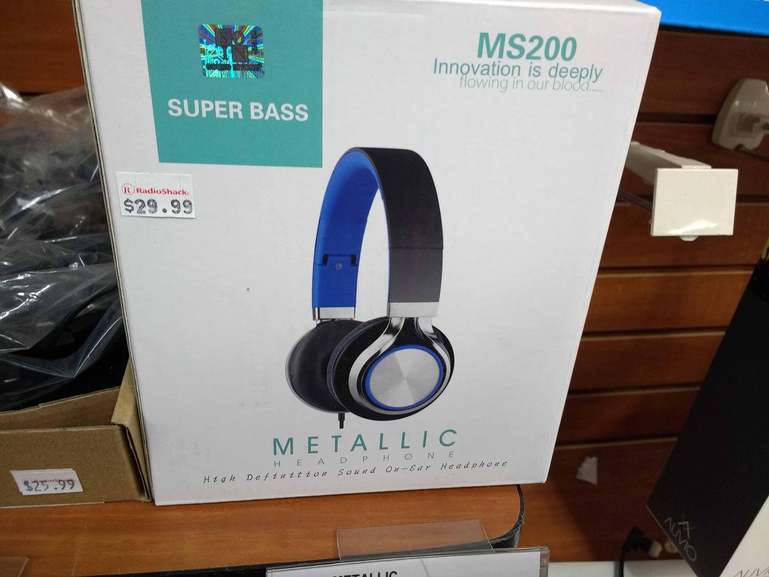 Metallic Super Bass headphones provide rich sound.