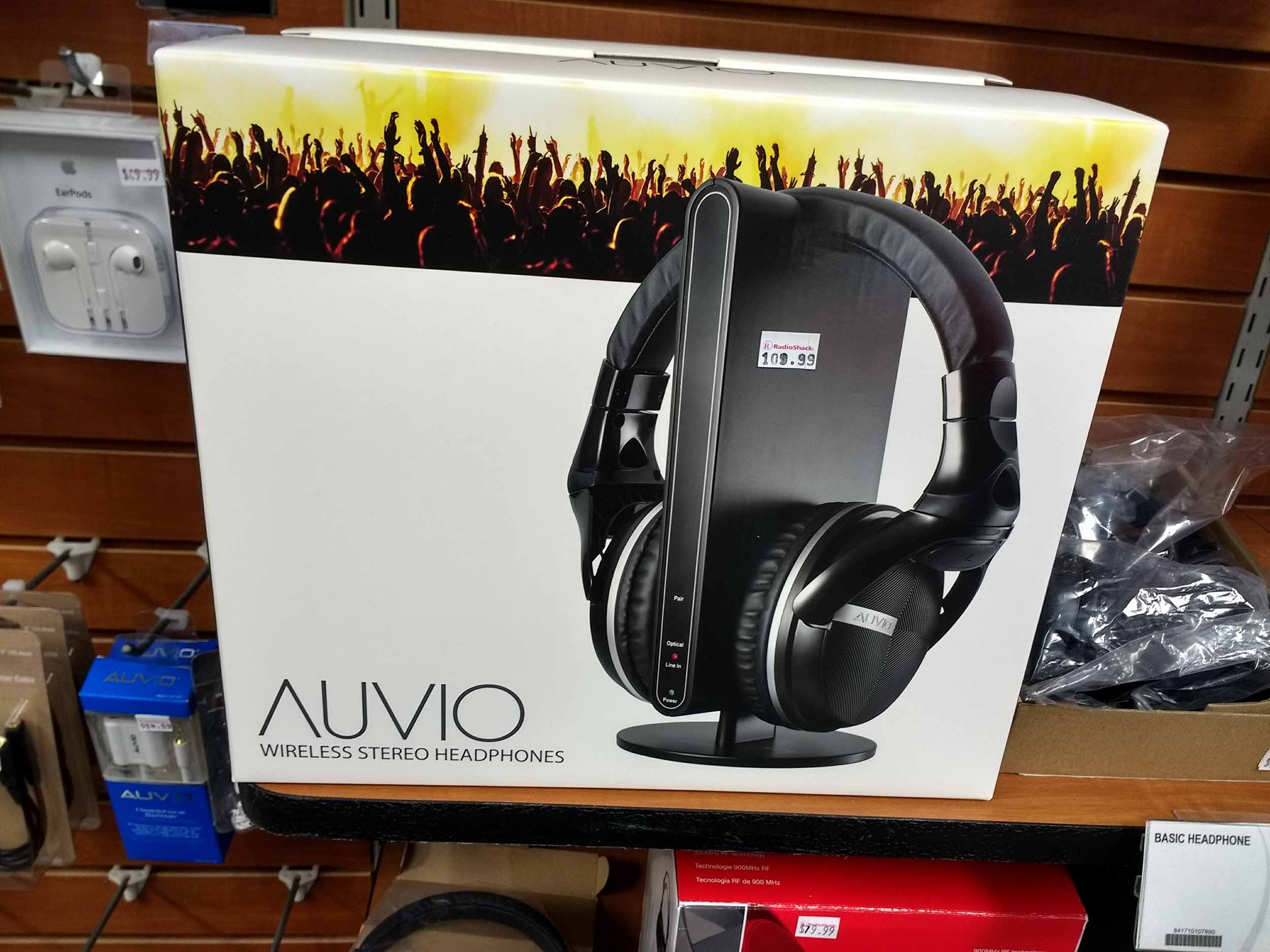 Rechargeable Auvio headphones for wireless stereo privacy.