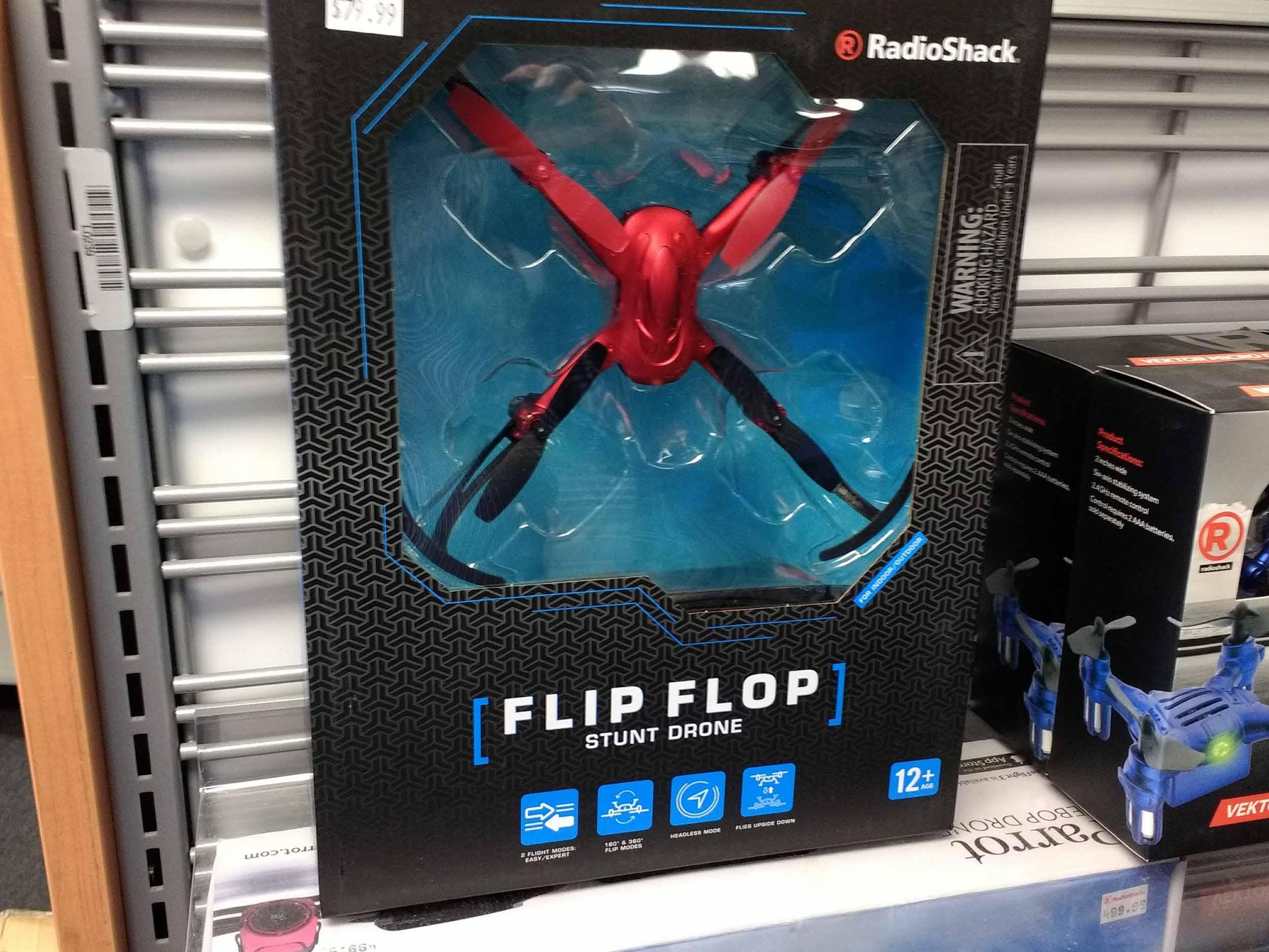 Flip flop drone provides aerial acrobatics.