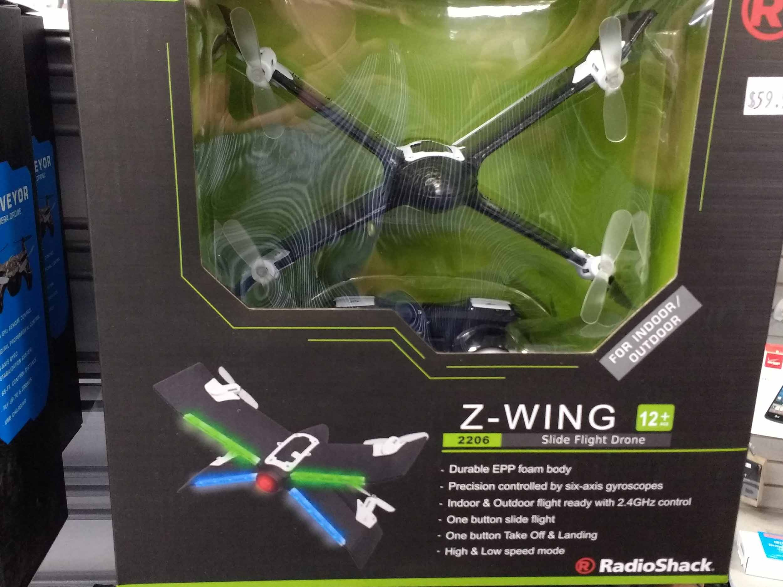 Z wing drone features multicolored LEDs.