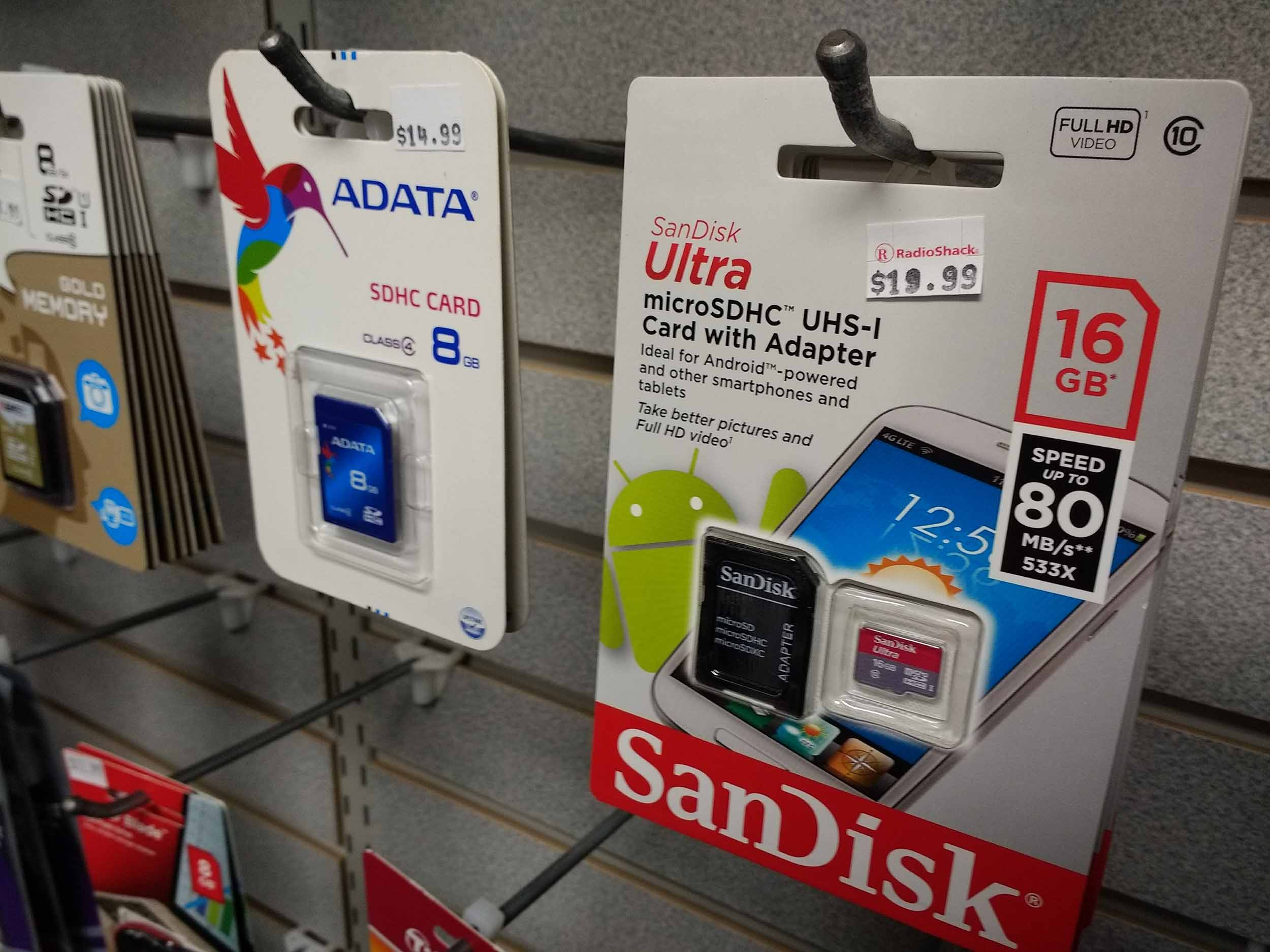 Full size and micro SD cards and adapters are always in stock.