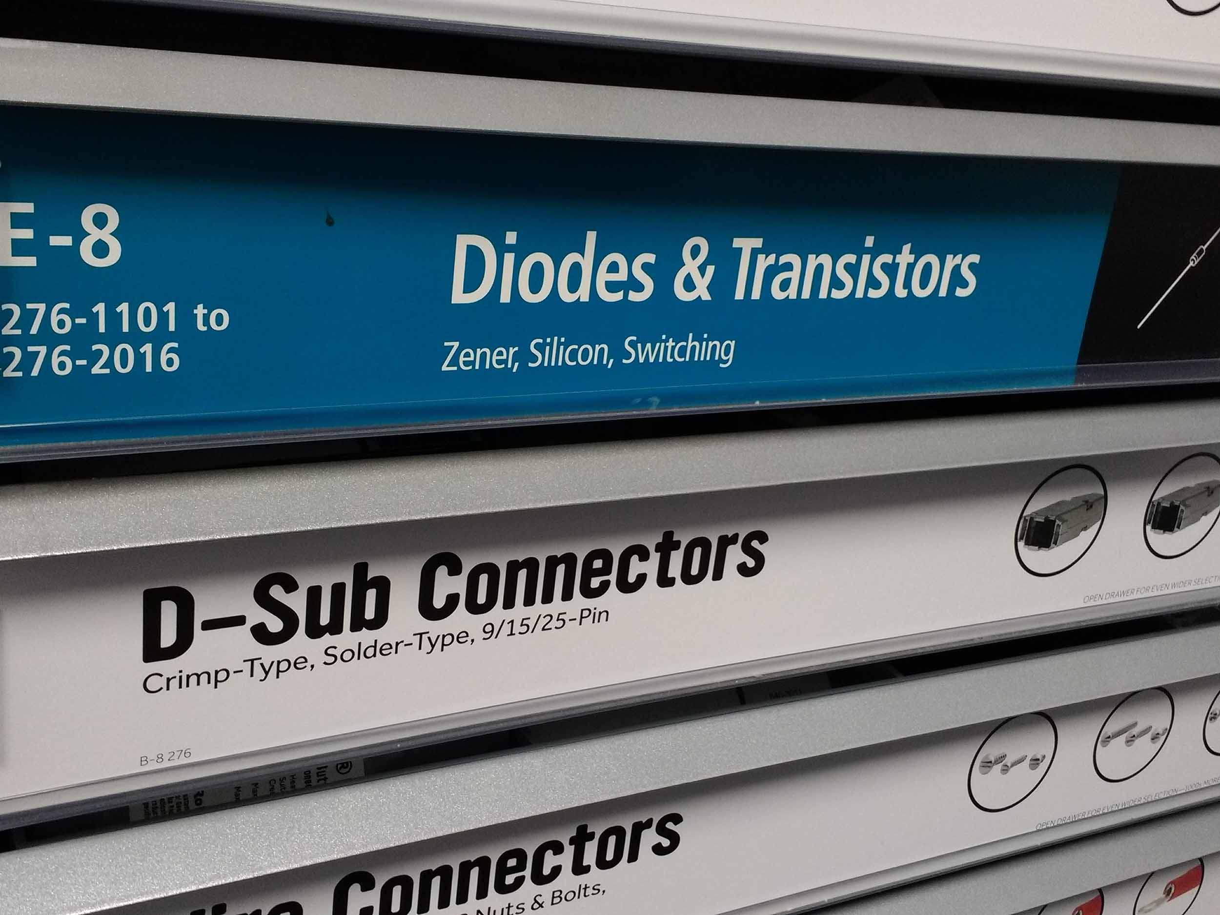 Drawers of diodes & transistors as well as d-sub connectors.