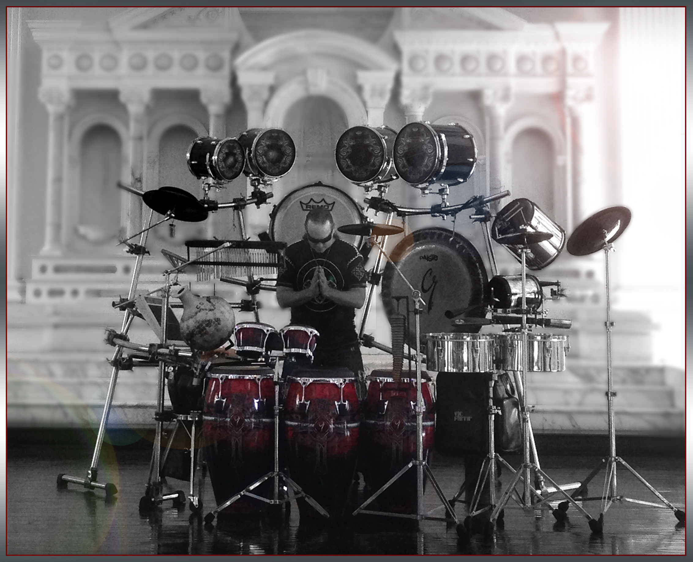 SOLO PERFORMANCE - This is C.G. Ryche performing to his music solo. Know internationally as one of the most ground-breaking and exciting percussionist today, Ryche has performed solo for the NFL, Open for Roger Daultrey &Queensryche and performs for years for Disneyland Resorts & Universal Studios.