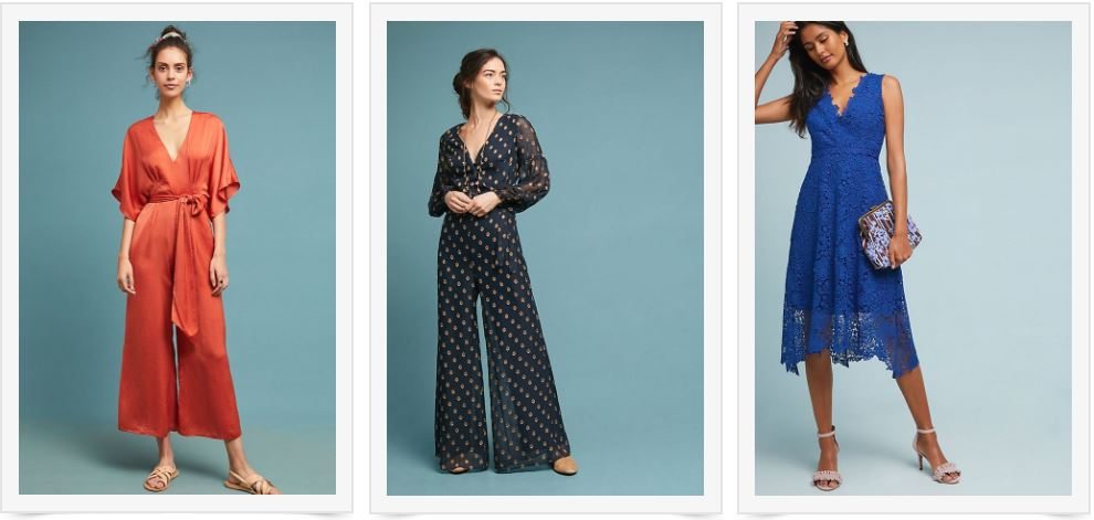1) Sahara Jumpsuit   2) Polka-dot Jumpsuit   3) Blue Lace Dress