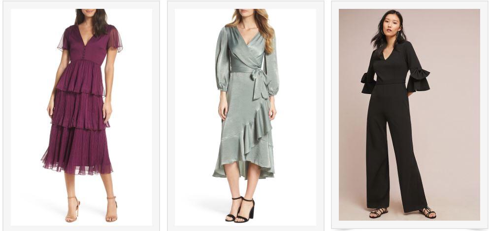 1) Wine Tiered Dress   2) Satin Wrap Dress   3) Black Bell-sleeved Jumpsuit