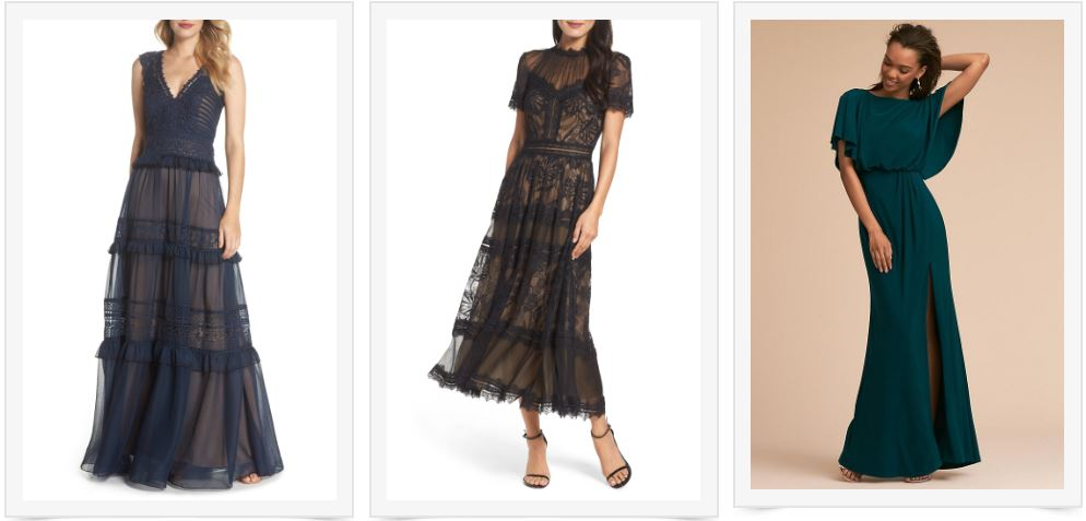 1) Navy Lace + Chiffon Gown   2) Black Lace Midi Dress   3) Green Gown