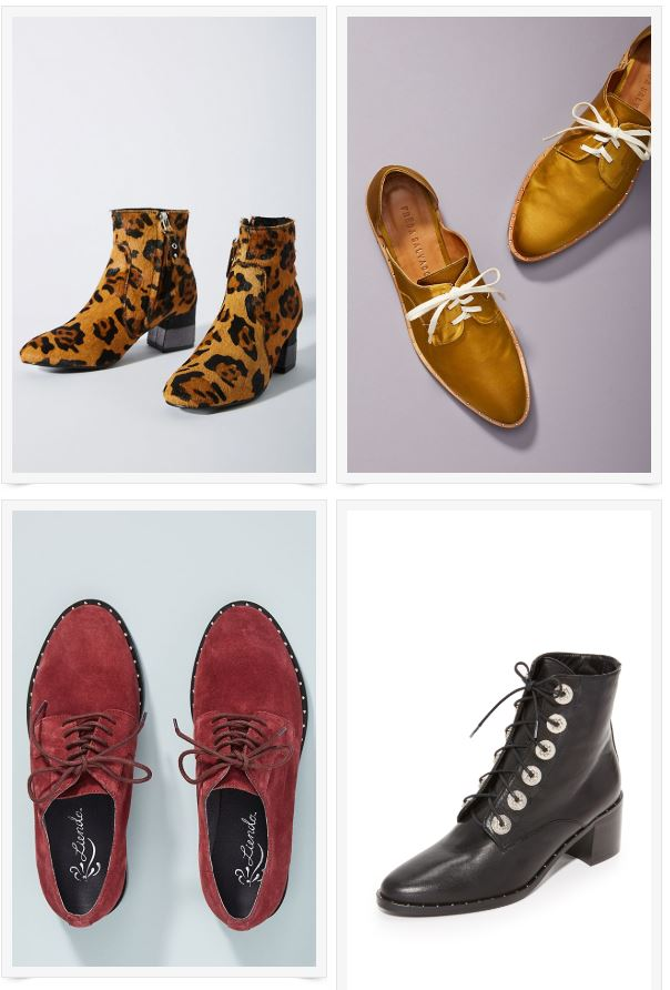 1)  Gioseppo Leopard Booties , 2)  Freda Salvador Oxfords , 3)  Seychelles Studded Loafers,  4)  Freda Salvador Ace Boots