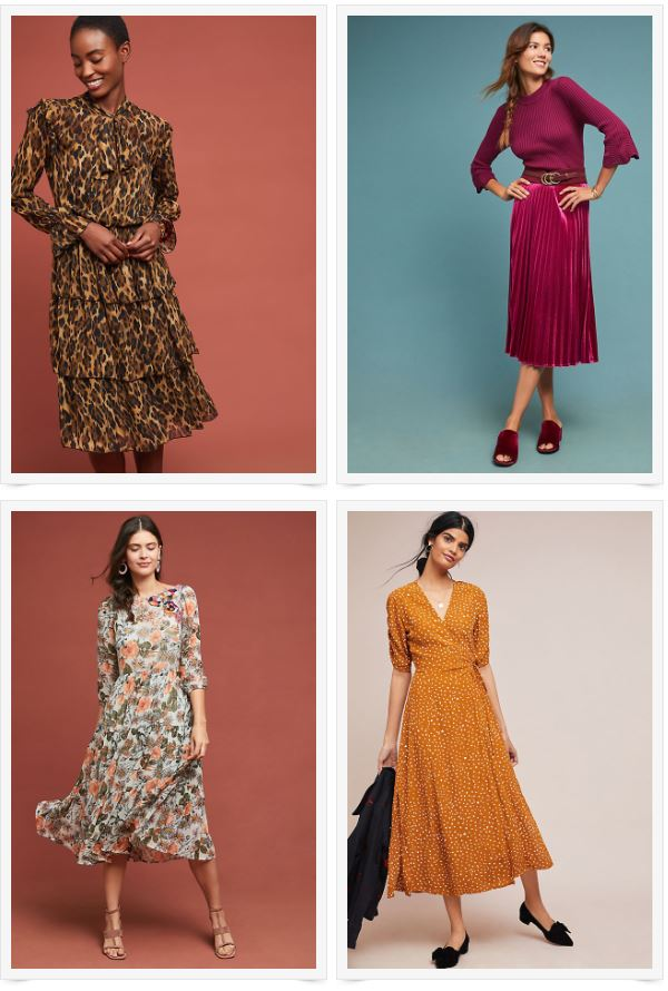 1)  Tiered Leopard Dress , 2)  Pleated Velvet Skirt ,  3)  Floral Embroidered Tunic Dress,  4)  Golden Maxi Dress