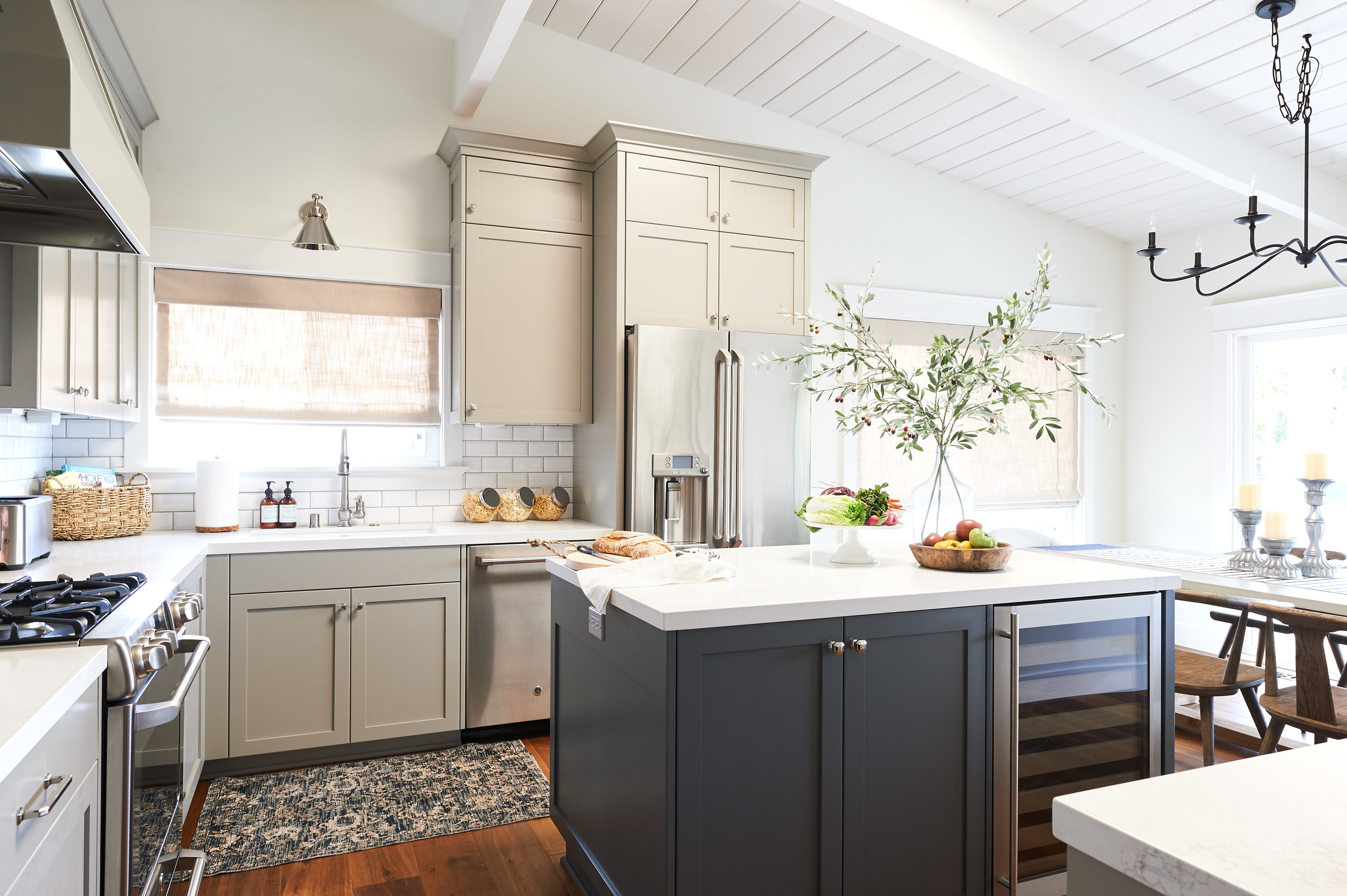 Our Faux Tangerine Branches are the perfect addition to this kitchen island.