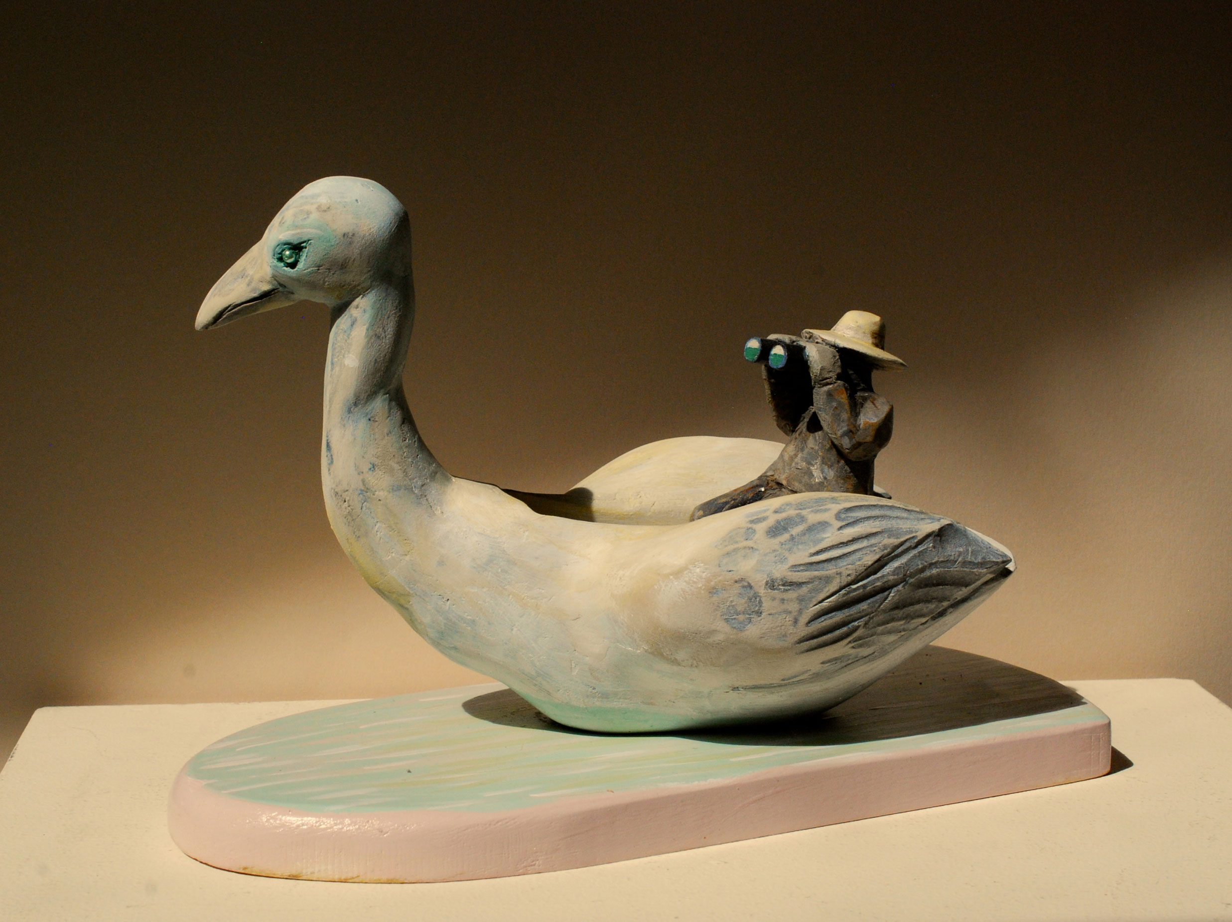"Swan boat carved and painted wood 7"" x 11"" x 6""   Inquire >"