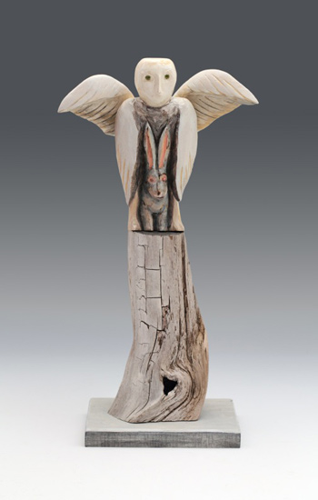 "Benevolence, 2015 carved and painted basswood with found elements 15"" x 8"" x 6"""
