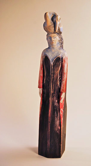 "A Day without Rain, 2009 carved and painted wood 27""x 5""x 5"""