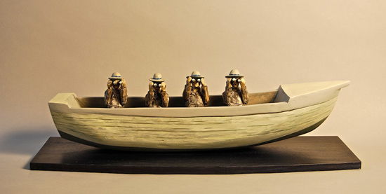 "Offshore, 2009 carved and painted wood 6"" x 20"" x 7"""
