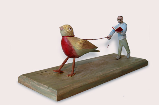 "The Poet and the Sparrow, carved and painted wood 7"" x 16"" x 5.5"""