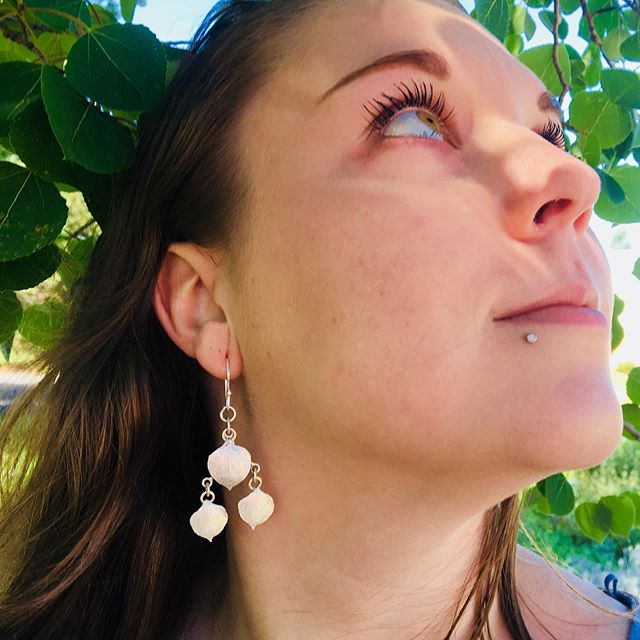 Kathleen Carricaburu, Whispering Aspen Leaf Earrings, tremble and shine with your every movement , the peaceful calm of the Aspen tree. They will be available at the Utah Arts Festival , booth 37. #kathleencarricaburu #UtahArtsFest #naturejewelry #artjewelry #environmentalewelry #modeledbymysticmakings