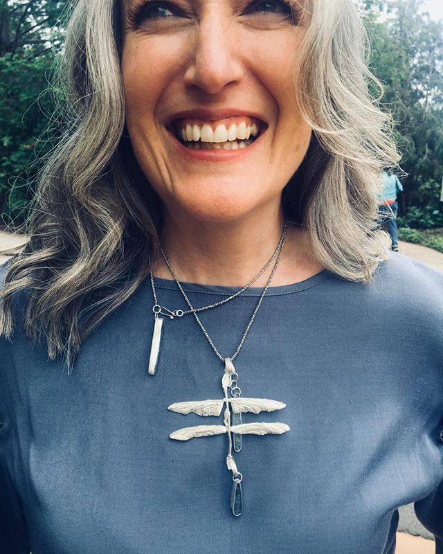 KathleenCarricaburu Resting Dragonfly Necklace, sterling silver , blue kyanite, We have our favorite insects not only because they surprise us with their beauty but because they focus our vision and  connect us to the enjoyment of the now. Celebrate a summer evening  With us at the Utah Arts Festival , booth#37 #kathleencarricaburu #UtahArtsFest #naturejewelry #environmentaljewelry #dragonflyjewelry #bluekyanitejewelry #@Trovegallerytoo