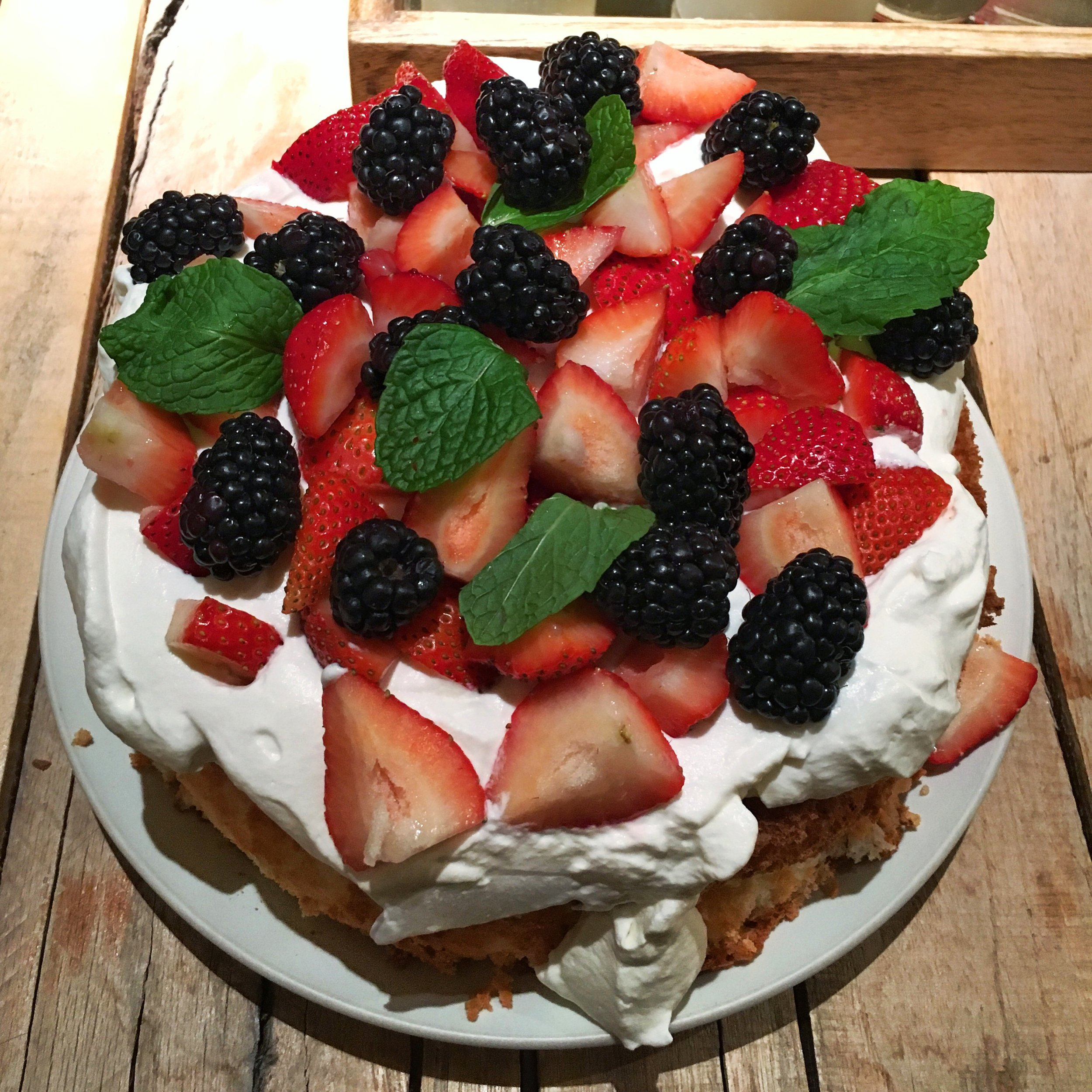 Angel Food Cake With Market Berries Chantilly Cream Hungry Twenties