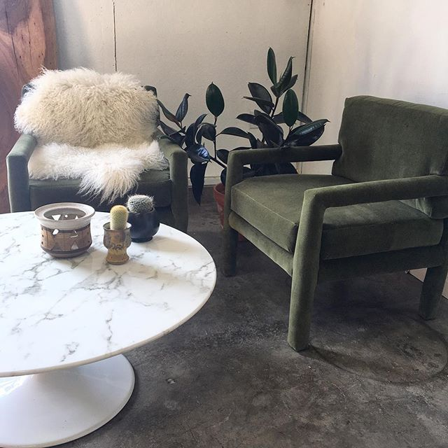these chairs. my god, I thought I couldn't possibly love chairs anymore than I already do and then these happened. upholstered in the softest olive green mohair velvet...these chairs are everything. who's gonna be the lucky new owner!!?