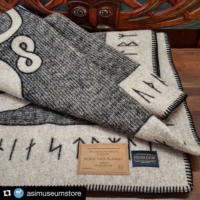 """We are so happy to share our new Norse inspired pattern with you! 😍 See below for purchase info for this blanket!  #Repost from the @asimuseumstore with @get_repost ・・・ The Norse Saga Blanket was designed for the @amswedinstitute by @lauriejacobioriginals in celebration of """"The Vikings Begin"""" exhibition and the installation of the historic Norse Saga Room. This limited edition, wool blanket was produced by @pendletonwm exclusively for ASI. All proceeds from the sale of this blanket support cultural programming at the American Swedish Institute. #norsesagablanket #limitededition #exclusiveproduct #woolblanket #thevikingsbegin #museumshop #pendletonblanket #americanswedishinstitute #vikingstyle"""