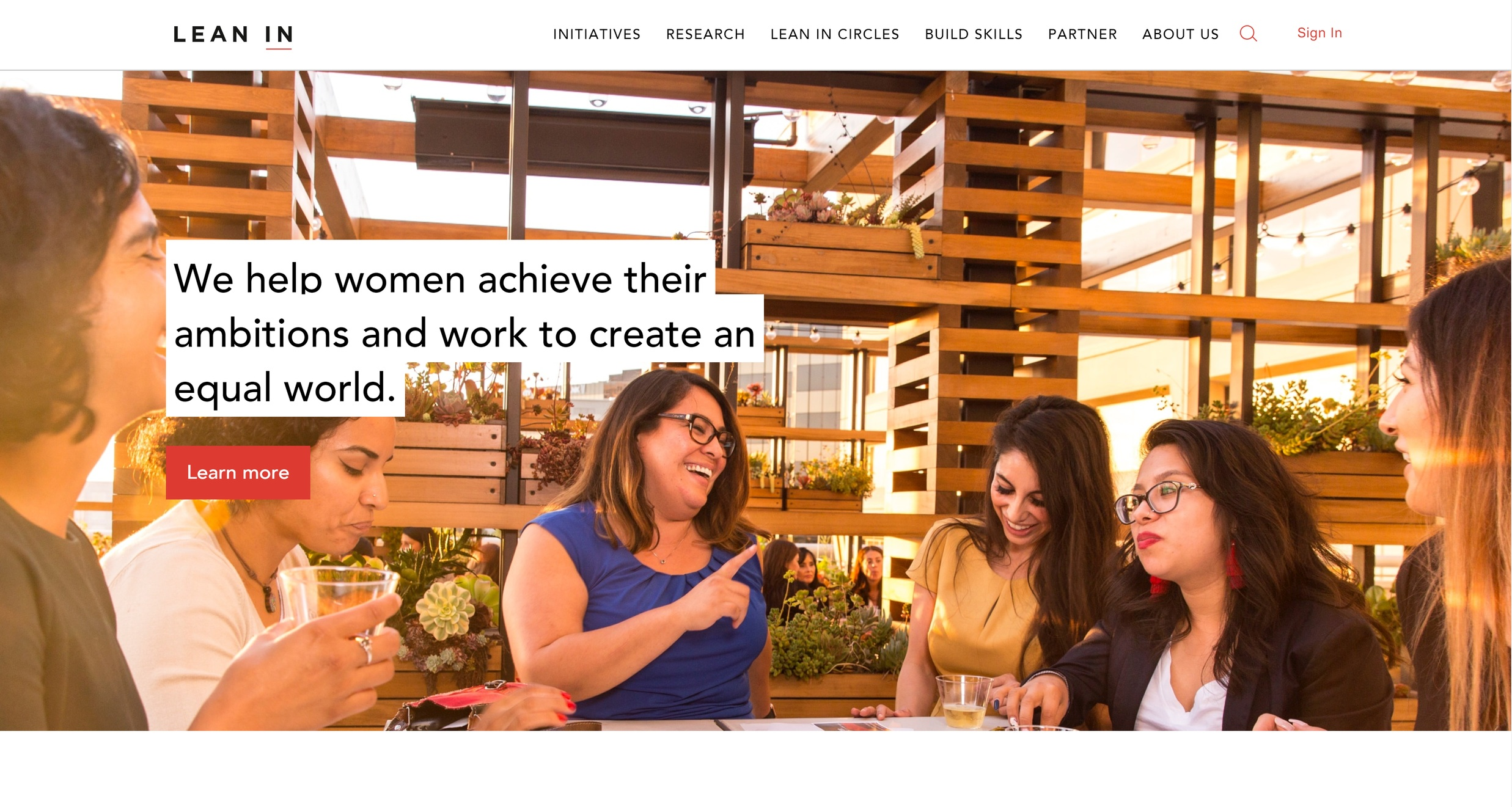 Lean In - Equality for women at work website