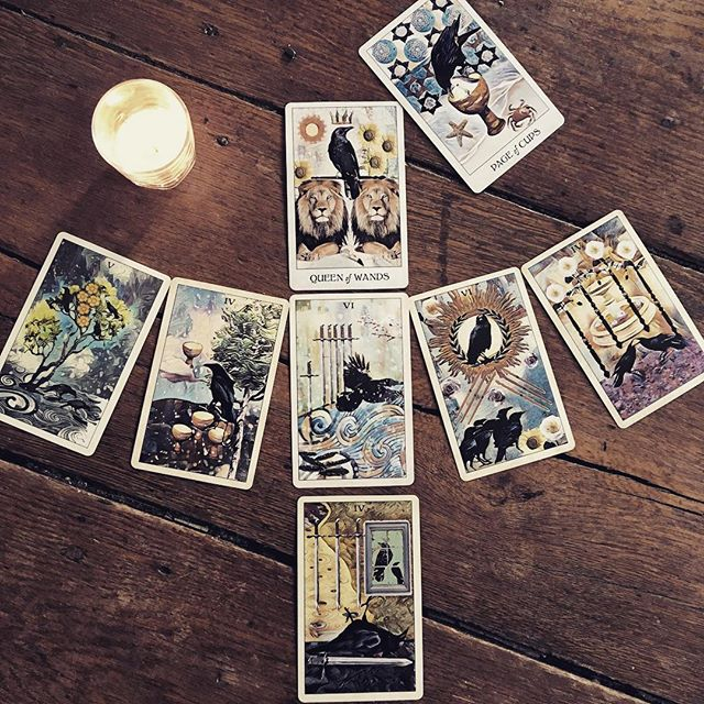 Decided to try the Crow Tarot spread instead of my usual Celtic Cross for a full moon reading and I absolutely love it. 🖤 . . . #crowtarot #crowtarotdeck #tarottribe  #tarot #dailytarot #tarotreadersofinstagram #taroteverydamnday #divination #oracle #fortuneteller #cartomancy #tarotcards #oraclecards #pagan #pagans #pagansofinstagram #witch #witchesofinstagram #witches
