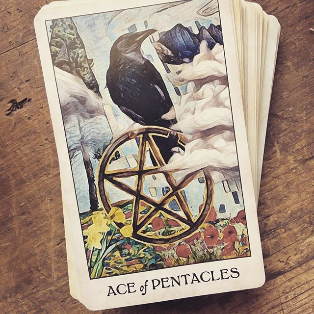 The Ace of Pentacles is all about divine opportunity and new beginnings… whether it's good health habits, a new career, or whatever else it is you're trying to manifest in the physical world, now is the right time to put ideas into action. . . . #tarottribe  #tarot #dailytarot #tarotreadersofinstagram #taroteverydamnday #divination #oracle #fortuneteller #cartomancy #tarotcards #crowtarot  #oraclecards #pagan #pagans #pagansofinstagram #witch #witchesofinstagram #witches
