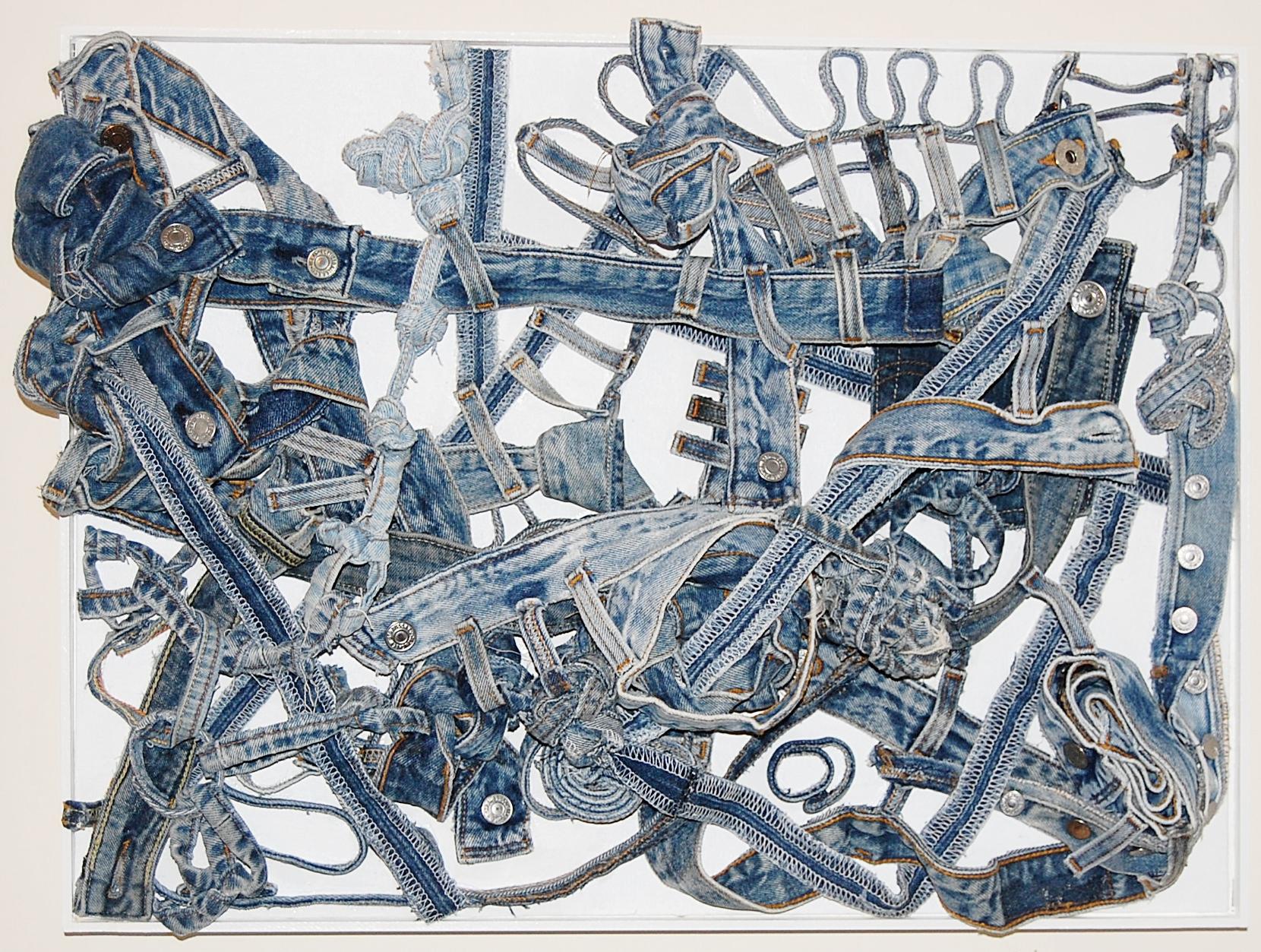 "Denim Doodle #6, 2011  denim pieces 18""x24""x5"