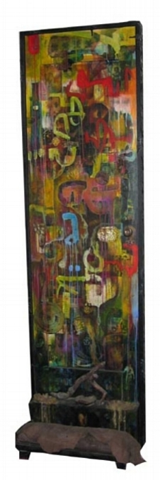 """Enigma Rising, 1999  collage and assemblage on wooden door 90""""x26""""x14"""""""