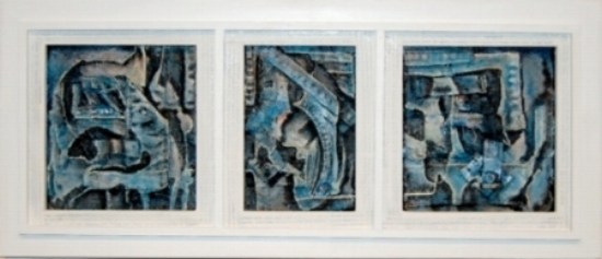 "Blues, Hollers & Ragtime, 2007     acrylic on collaged denim,  framed 10""x23"""