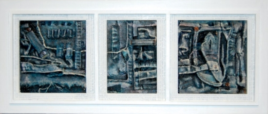 "Lineage, 2007     acrylic on collaged denim,  framed 10""x23"""