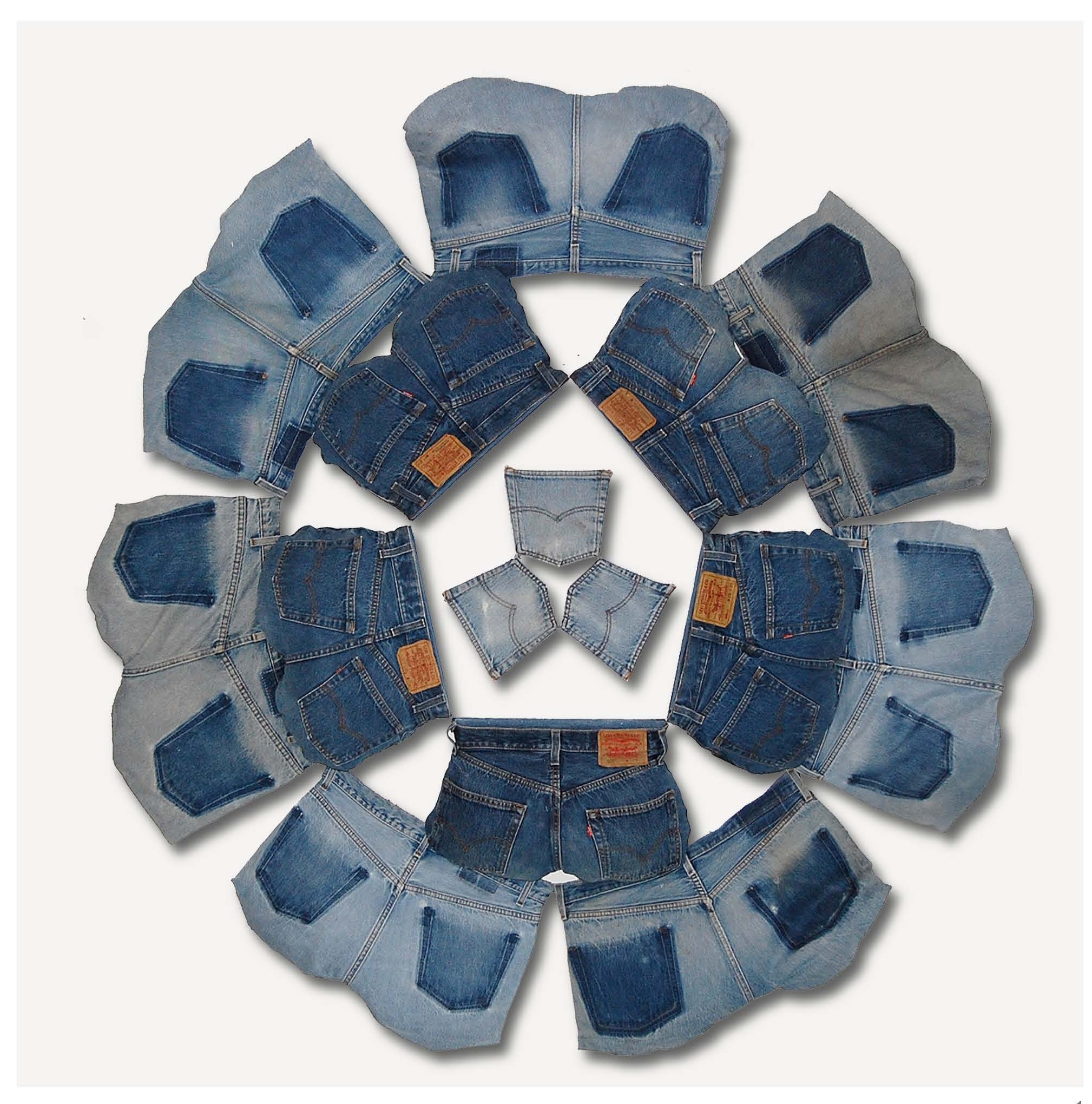 """Flower-Ring,2010   12 denim butts, 3 back pockets, wood and chicken wire 60""""x60""""x6"""""""
