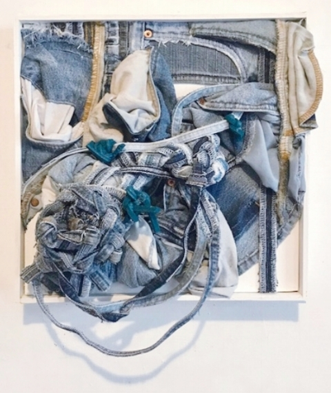 """Re-Birth of a Nation, 2018  denim pieces and yoga mat 17""""x14.5""""x7.5"""""""