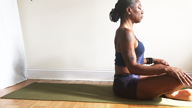 sukhasana.  (easy seat pose): shins crossed, tall spine, shoulders down