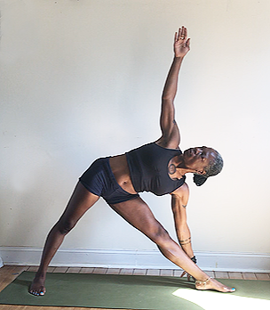 utthita trikonasana. (triangle pose) front knee straight, but not locked.