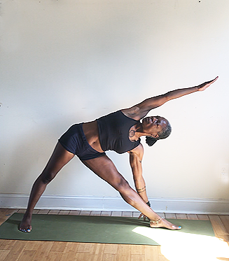 utthita trikonasana. (triangle pose variation) front knee straight, but not locked.