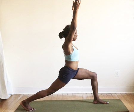 utthita ashwa sanchalanasana. (high lunge pose):  back heel lifted.