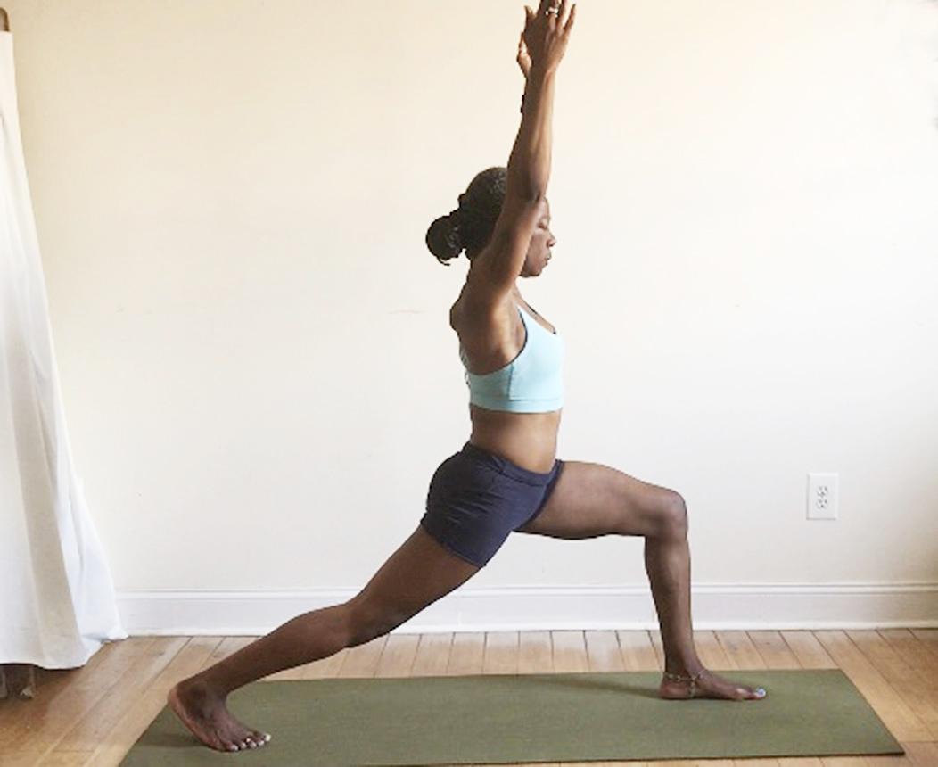 utthita ashwa sanchalanasana. (high lunge pose):  back heel lifted.