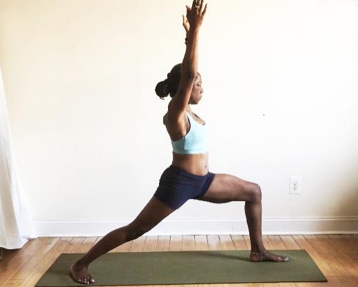 virabhadrasana I. (warrior one pose): back heel down + toes turned slightly forward.