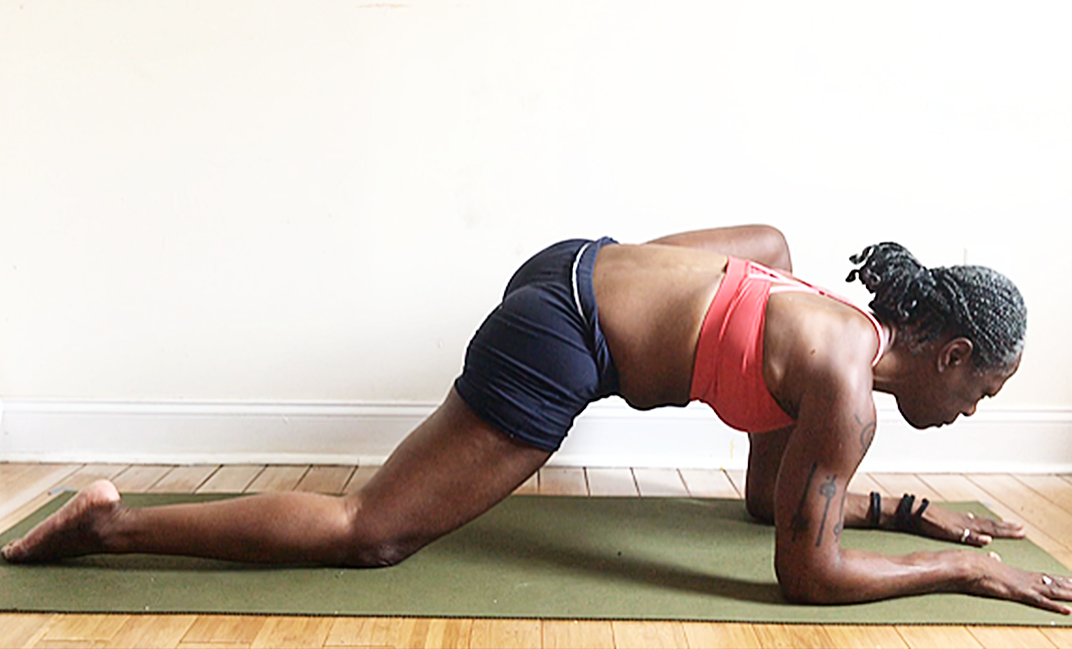 utthan pristhasana. (lizard pose) variation with back knee down.