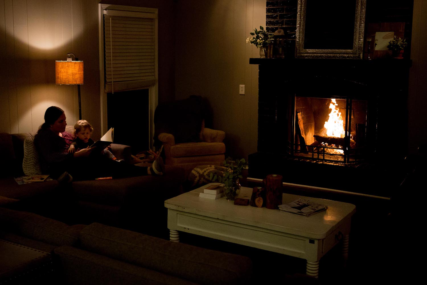 Evening books by the fire.