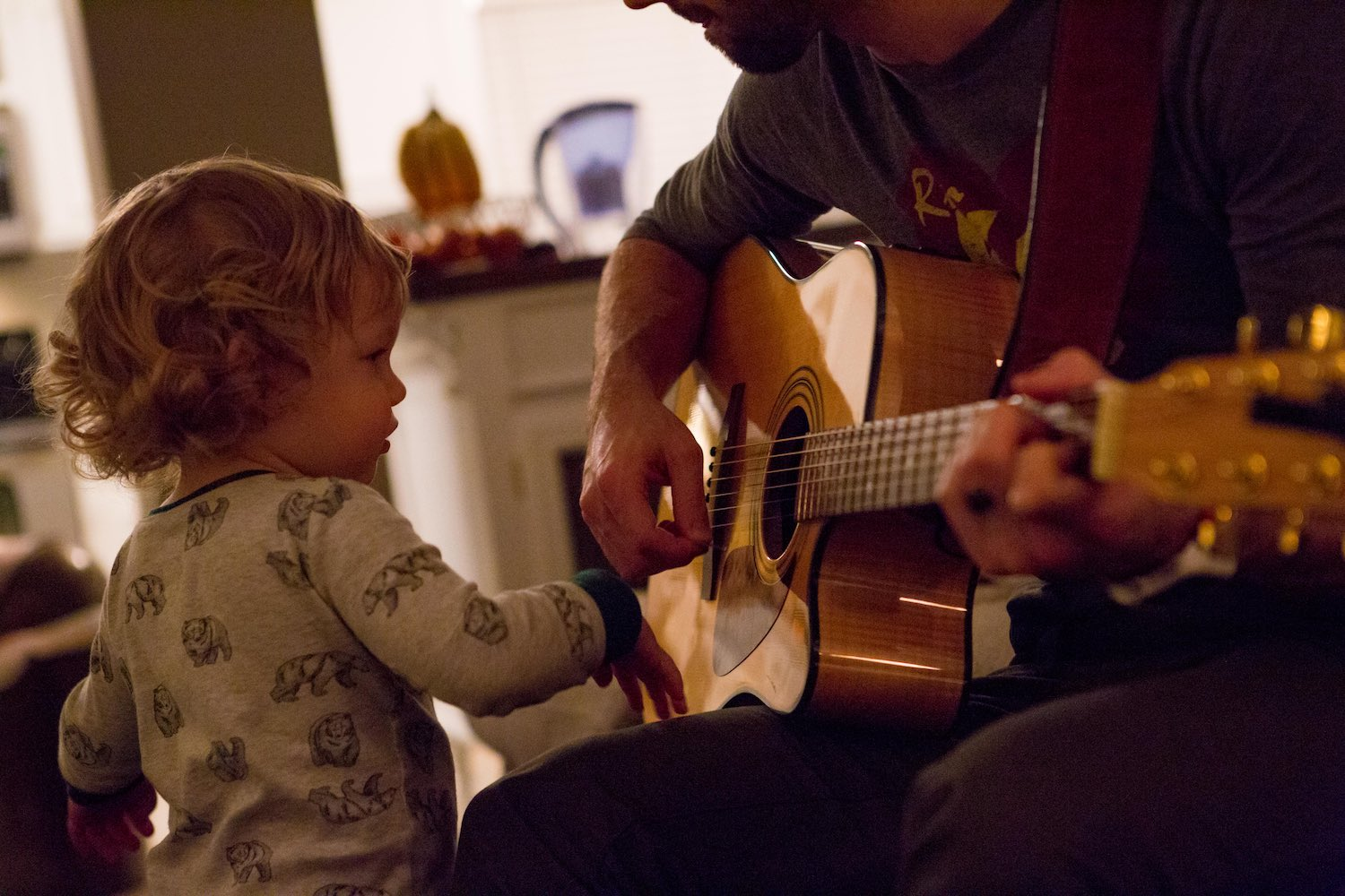 Finley loves music. Guitars and drums are his favorite.