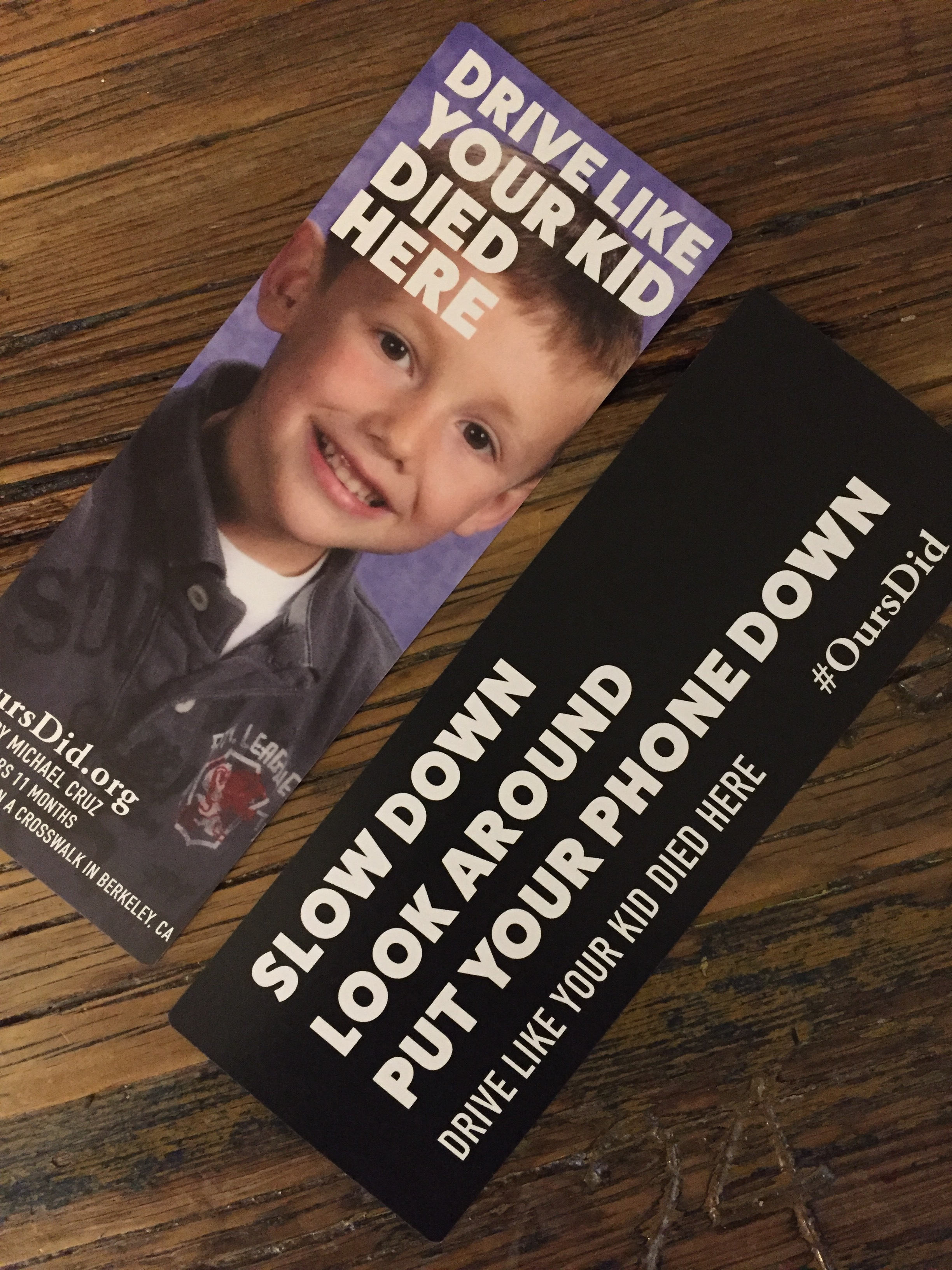 OursDid.org provided flyers for the Berkeley Police Department to use to educate motorists on the tragic consequences of rolling stops, speeding, and distracted driving.