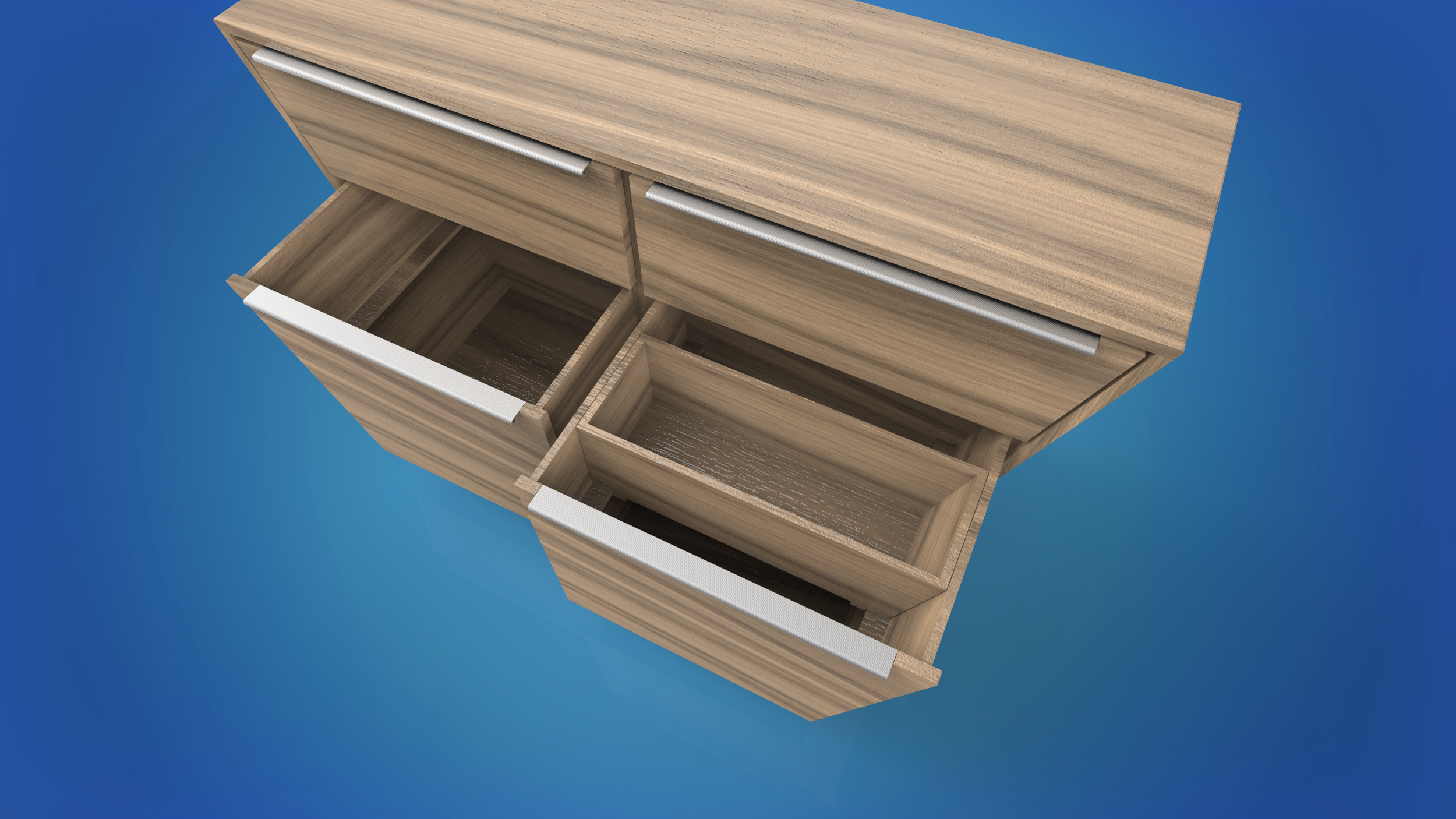 The deeper lower drawers are divide by a adjustable inner shelf. This division keeps things neat and useful items handy.