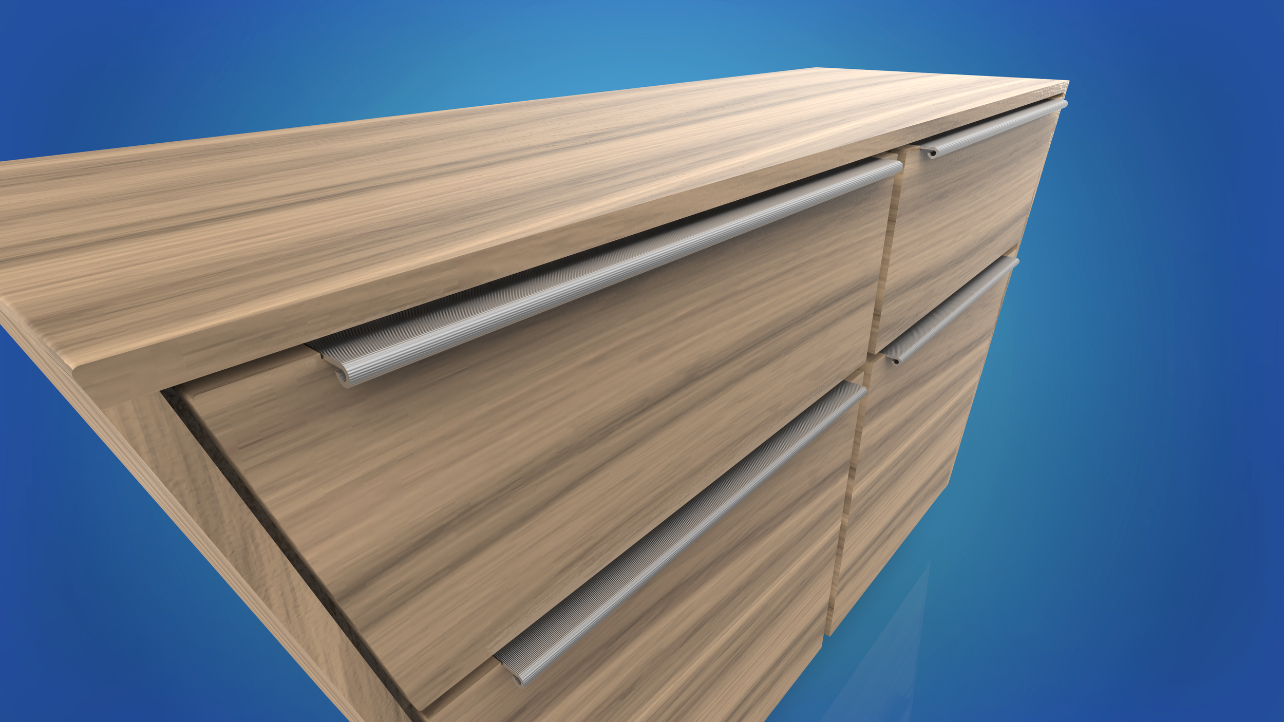 The textured drawer pulls insure a tight grip when opening a drawer.