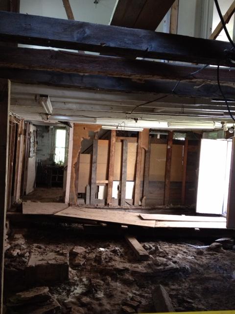 View of still flood-damaged rear wing of Art Center. (interior view)