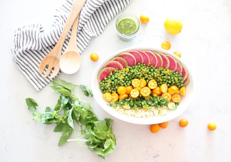 gluten free millet bowl with kumquats basil and watermelon radish by Alavita Nutrition