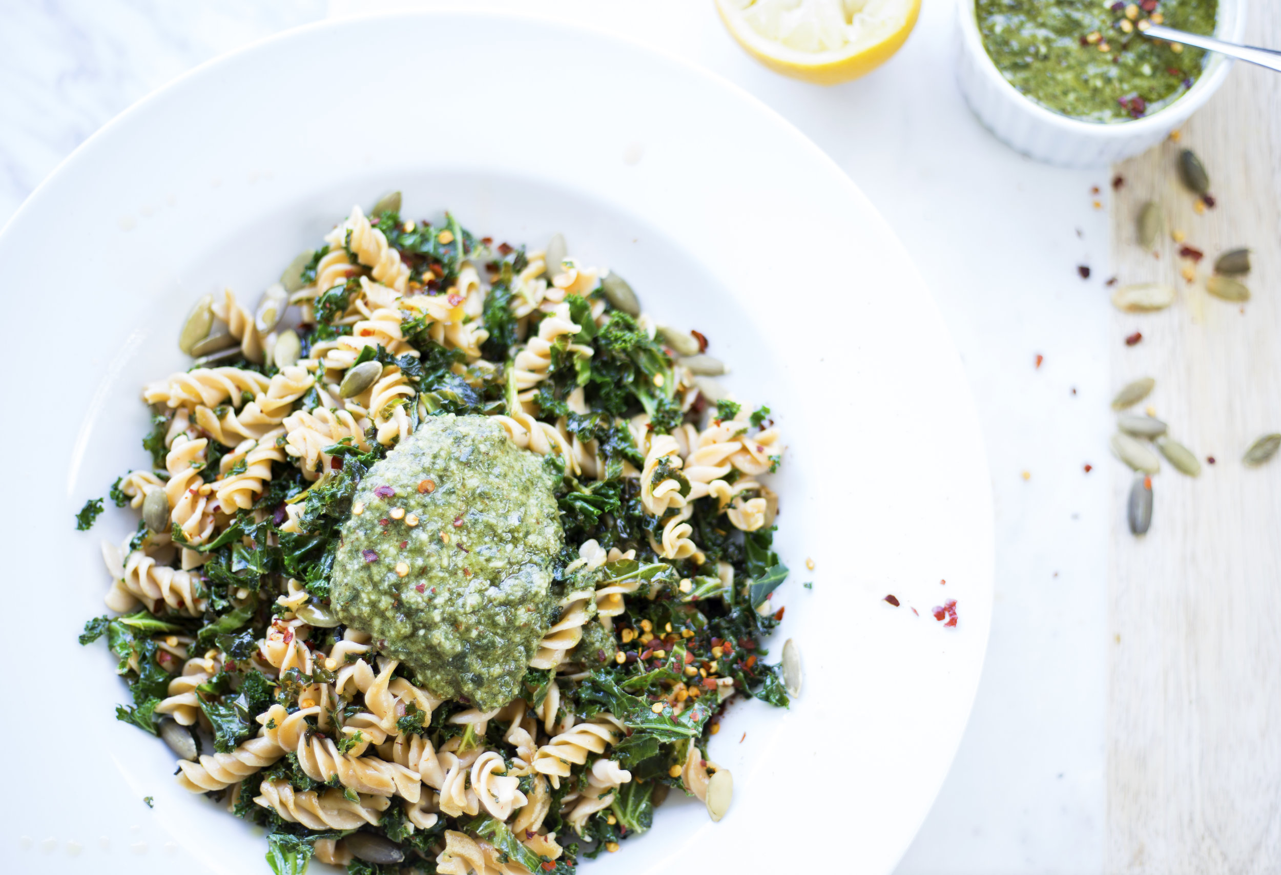 Lentil Pasta with fresh basil-pepita pesto for an easy, gluten free family friendly weekday meal