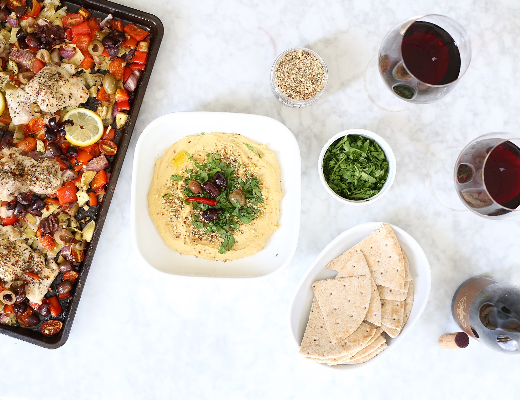 healthy chicken pitas and hummus